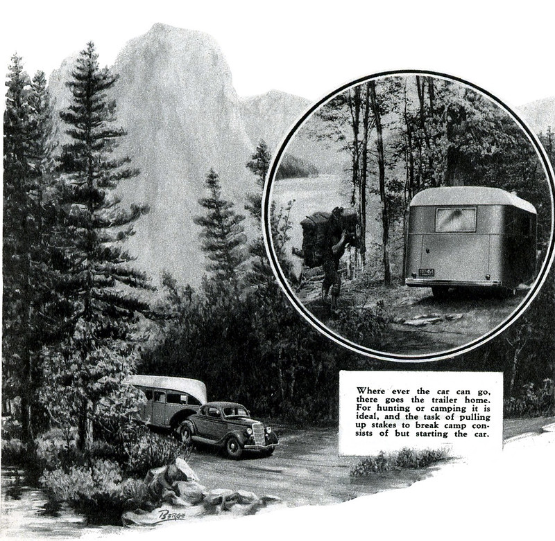 Where ever the car can go. there goes the trailer home. For hunting or camping it is ideal, and the task of pulling up stakes to break camp consists of but starting the car. (1937)