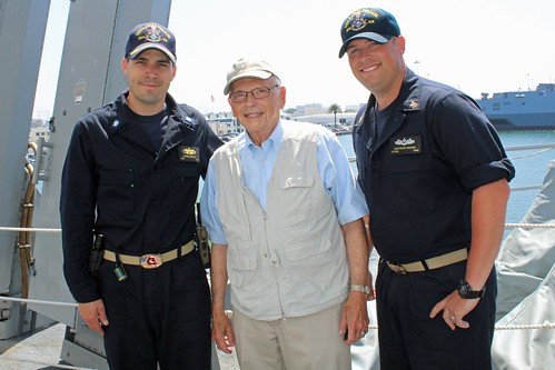 SAN DIEGO – Two weeks after being commissioned into active duty service, USS Rafael Peralta (DDG 115) welcomed a Navy WWII veteran aboard, August 11, for a tour of one of the Navy's newest and most advanced warships.
