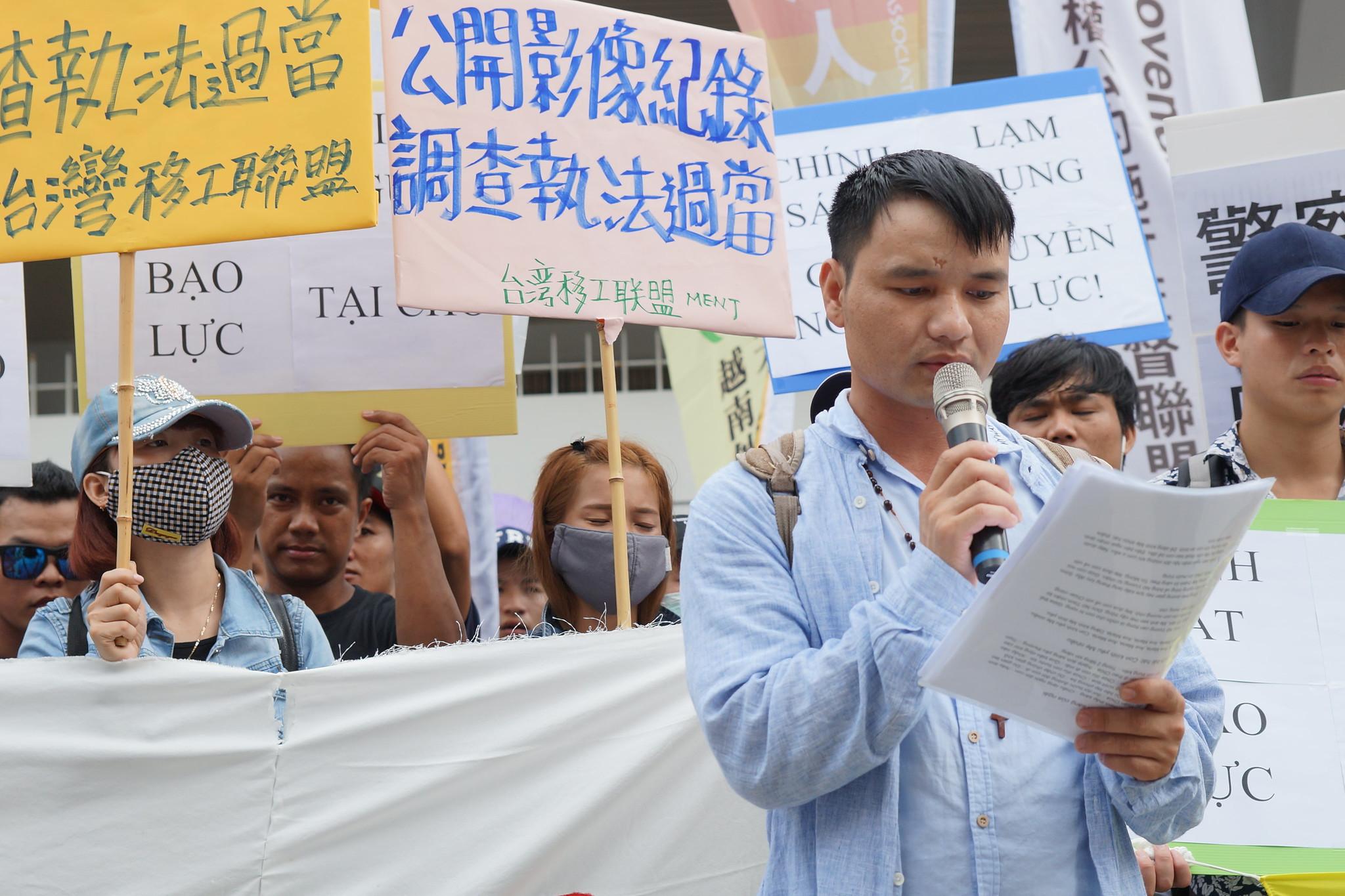 越南籍移工阮越高表示,移工只是到台灣來工作,不是異類,希望在台灣能得到平等尊重。(攝影:王顥中)