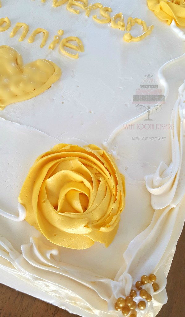 White and Gold 50th Wedding Anniversary Sheet Cake | Flickr