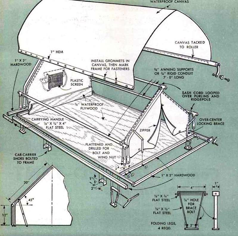 Combination BED-TENT details (1952) - Popular Mechanics, March 1952