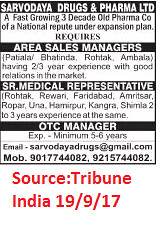 Sarvodaya Drugs & Pharma Ltd,Area Sales Manager,Ambala