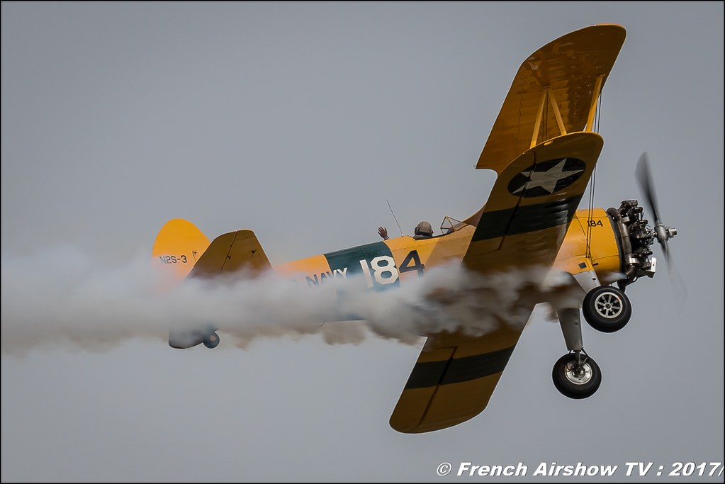 Boeing PT-17 Kaydet A-75/N1 Stearman NS2-3 - F-AZST Association Aérorétro , Meeting aérien contre le cancer , Free Flight World Masters Rodez-Aveyron , FFWM2017 , Meeting Aerien 2017