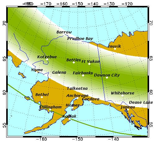 Mapa de predicción de auroras boreales en Alaska