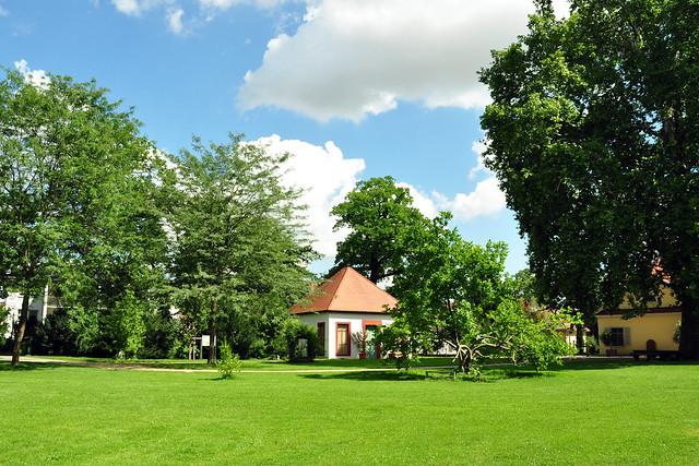 Neckarhausen im August 2017: Schlosspark des ehemals Graf-von-Oberndorff´schen Schlosses. Interessante Baumbestände, Schloss, Orangerie ... Brigitte Stolle