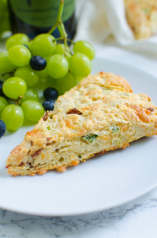 Cheesy Bacon Scones - delicious savory scones made with crispy bacon, cheddar cheese, and green onions. Perfect for brunch!