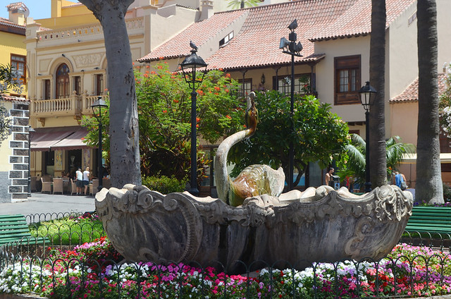 The swan fountain, Puerto de la Cruz, Tenerife