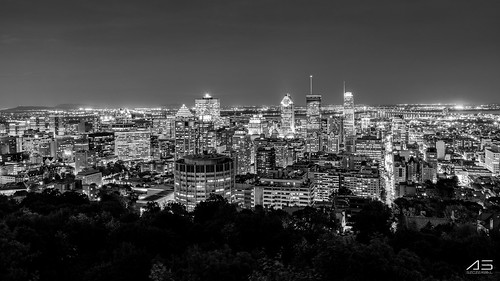 Mont royal Montreal by night B&W | by knaki63