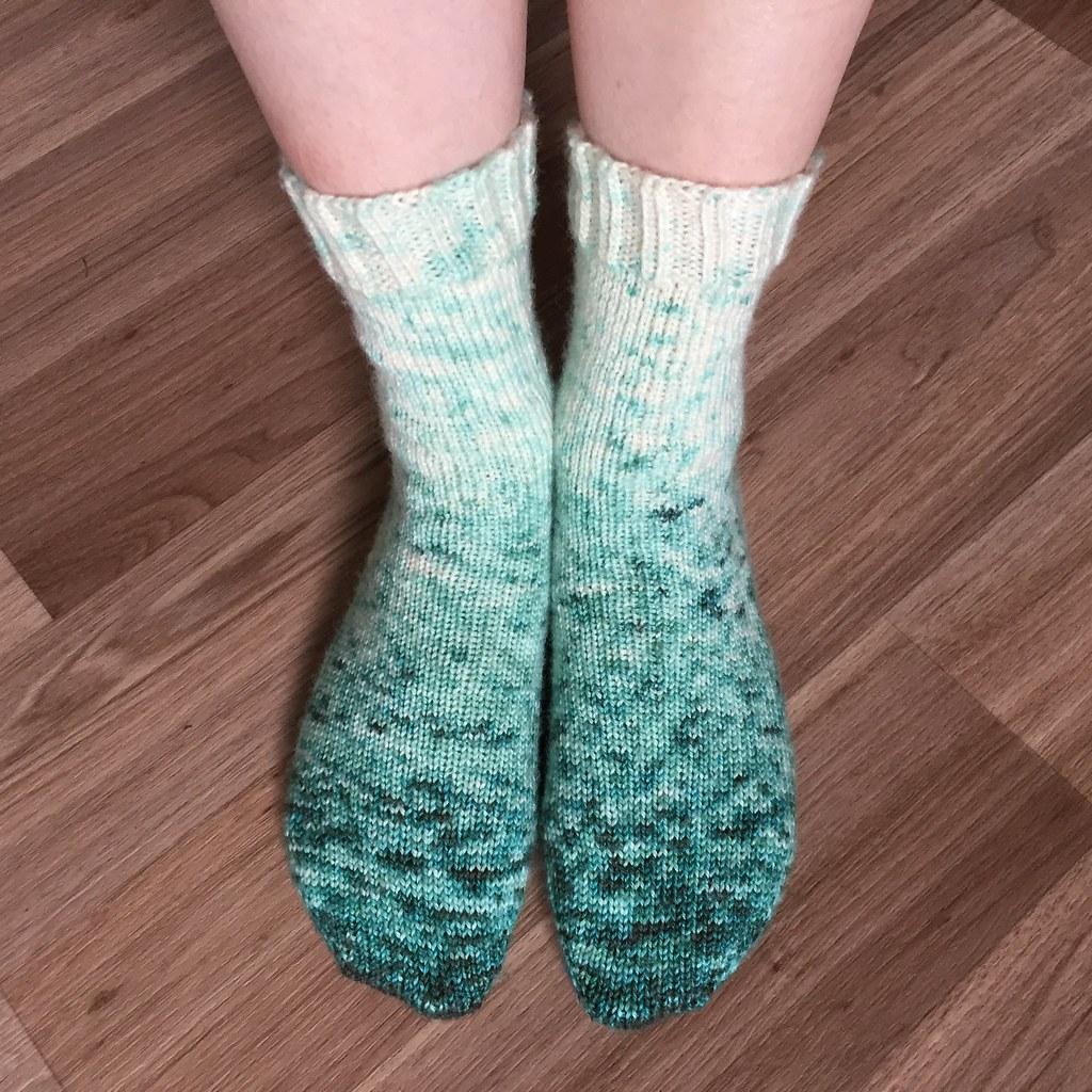 vanilla socks knit in hand-dyed bendigo woollen mills sock yarn