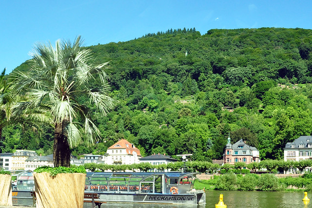 Unterwegsbilder aus dem fahrenden Auto, Heidelberg Richtung Mannheim: Neckar, Alte Brücke, Solarschiff Neckarsonne, blauer Augusthimmel mit weißen Wolken ... Brigitte Stolle
