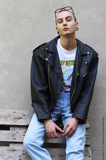 Leather Jacket T-shirt Levi's 80s