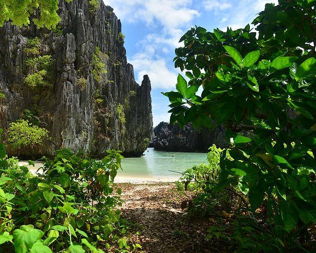 Secret Beach vista desde el interior de la selva