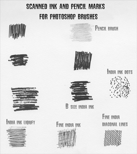 Scanned Ink and Pencil marks for PS Brushes