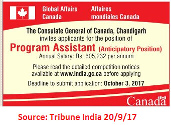 The Consulate General Of Canada,Program Assistant,Chandigarh
