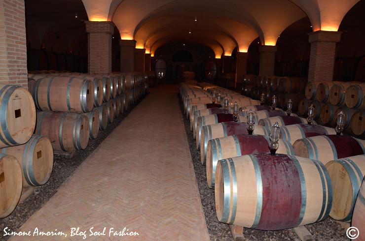 O armazenamento do brunello nos barris na vinicola Castiglion del Bosco, Toscana.