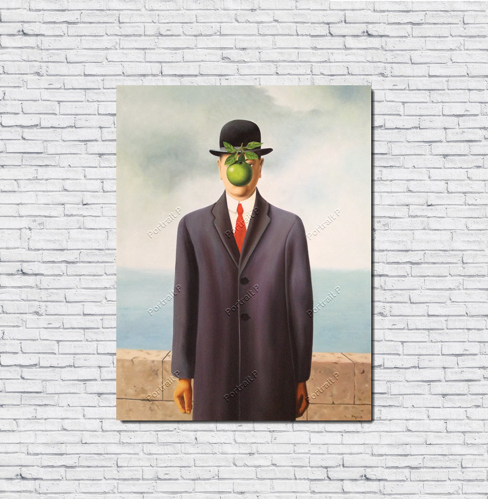 The Son of Man Oil Painting René Magritte HandPainted Art Canvas Not Print 24x32