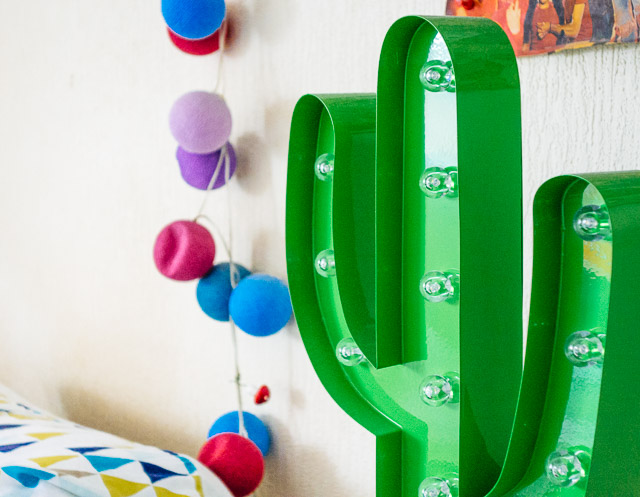 green cactus lamp and cable & cotton lights