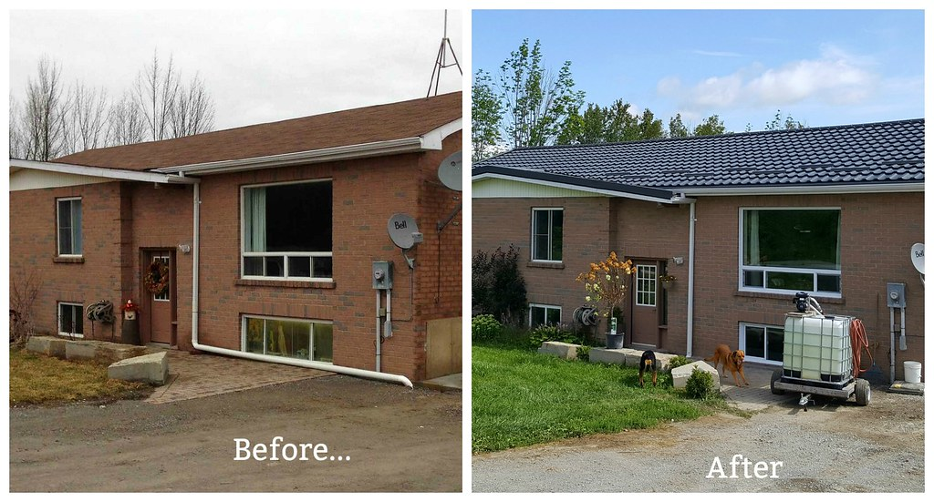 steel roof - greenmetal.ca - venice tile - charcoal - before & after