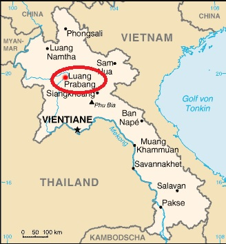 Mapa de situación de Luang Prabang en Laos