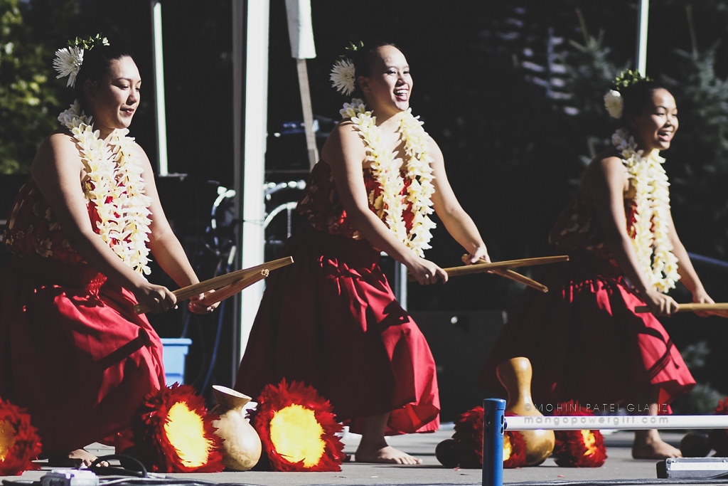 hula dancers with pu`ili slit sticks at 2017 live aloha hawaiian cultural festival seattle