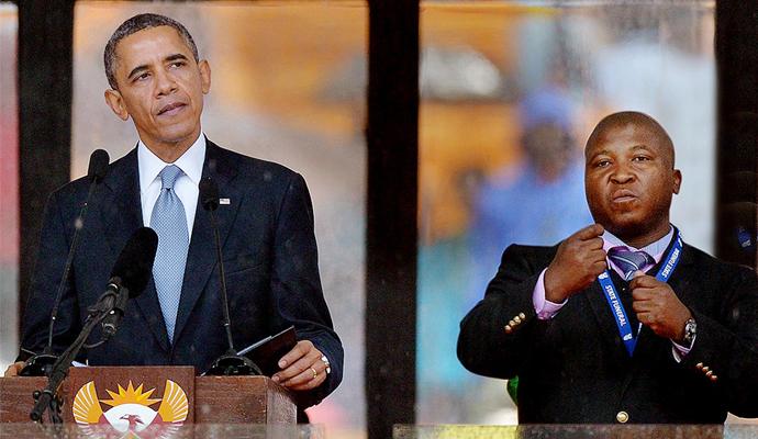 El falso intérprete del funeral de Nelson Mandela. | © AFP. Multiculturalidad.