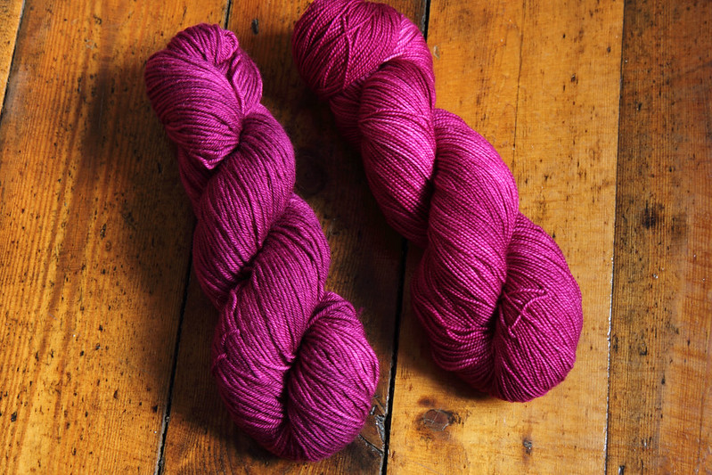 La Vie En Rose dye on two different yarns