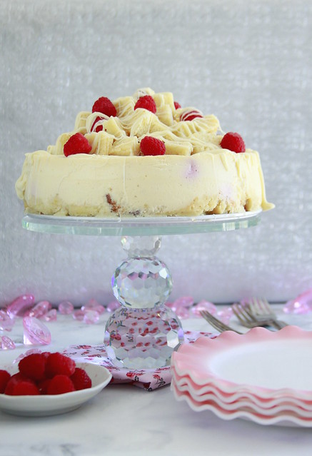 Raspberry Charlotte Cheesecake With Pound Cake Crust