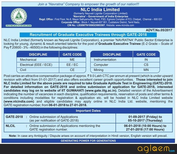 NLC Recruitment Through GATE 2018 for Executive Trainee