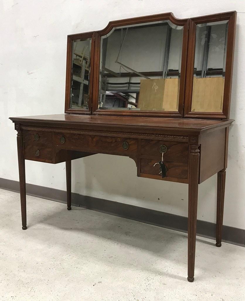 Antique Ornate Vanity Desk W Mirror 54h X 48w X 21d S Flickr