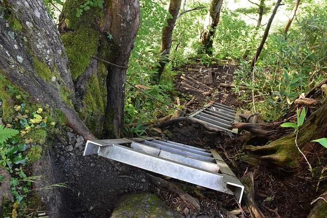 大日平から称名滝までの下り坂(ハシゴ)