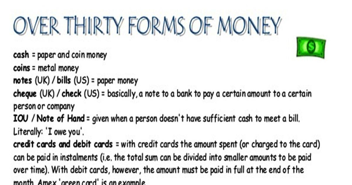 Over Thirty Forms of Money 5