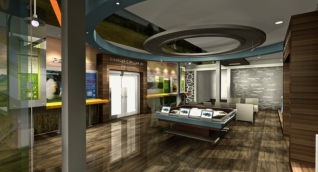 Architectural rendering of the interior view of Miller Center main entrance