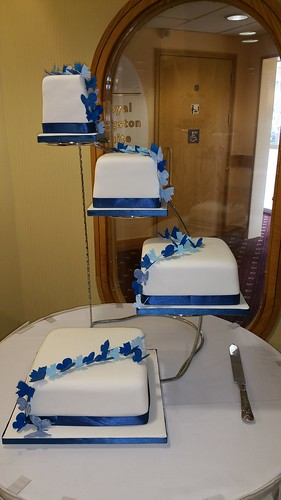 Cascade of blue butterflies four tiered Wedding cake. | by platypus1974