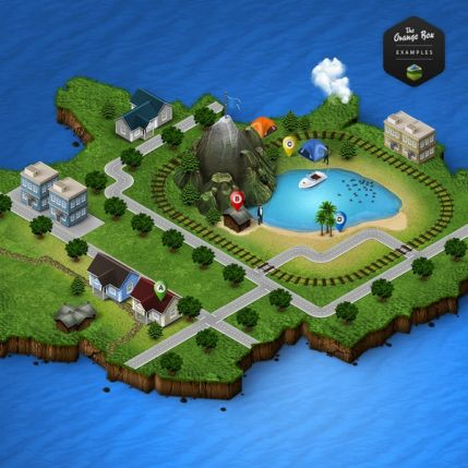 Generator isometric 3D map in 2 Photoshop action