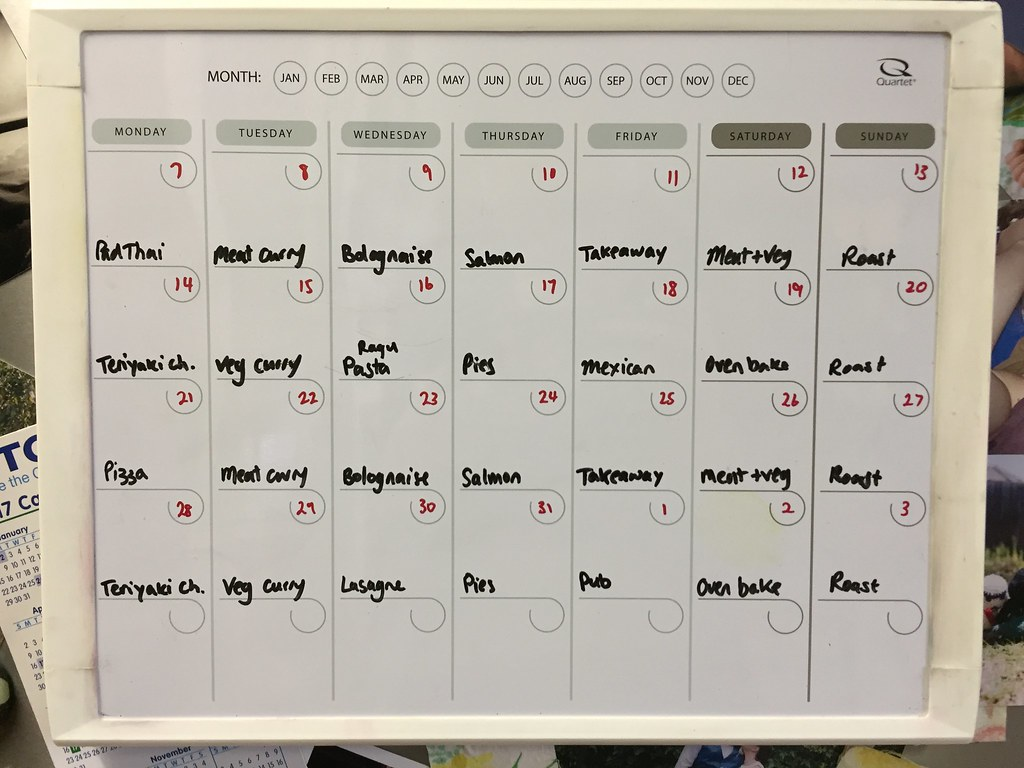a snap of the calendar whiteboard on our fridge, filled in with a month of meal plans