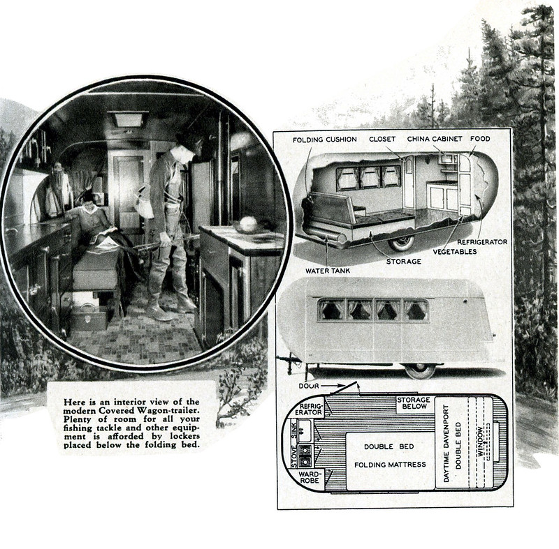 Here is an interior view of the modern Covered Wagon-trailer. Plenty of room for all your fishing tackle and other equipment is afforded by lockers placed below the folding bed. (How to Build Trailers, 1937)