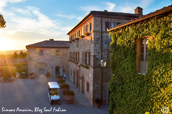 Sunset in Borgo San Felice, Tuscany. View from the Loggia Suite.