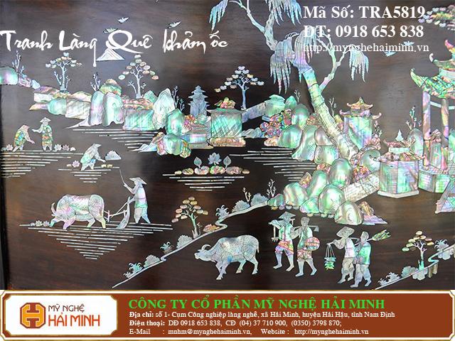 TRA5819i  Tranh Lang Que kham oc  do go mynghehaiminh