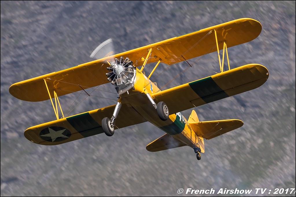Stearman PT18 - AéroRétro , Stearman PT18 : F-AZST 50ans d'Aviation Megeve 2017 - altiport de Megève , Haute-Savoie, Auvergne-Rhône-Alpes , Meeting Aerien 2017