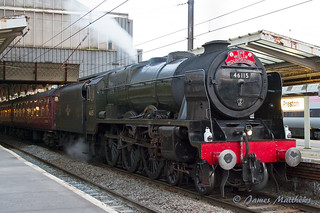 46115 Scots Guardsman pulling The Welsh Mountaineer steam tour seen at Preston station | by James P Matthews