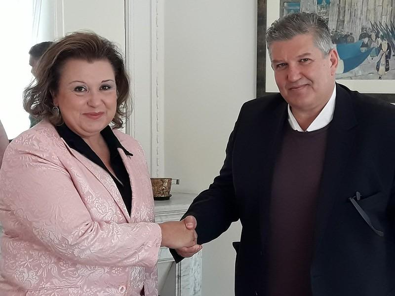 Συνάντηση Γ. Καραγιάννη με τη Μόνιμη Αντιπρόσωπο της Ελλάδας στα Ηνωμένα Έθνη Πρέσβειρα Άννα Κόρκα