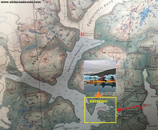 Mapa de Tasiusaq, el lugar donde hicimos kayak en el sur de Groenlandia (con Tierras Polares)