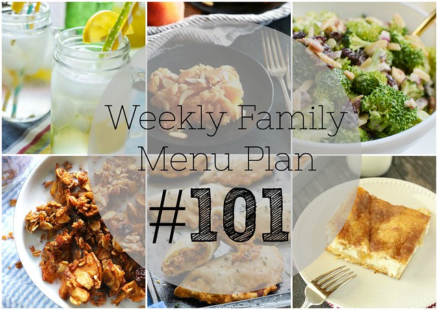 Weekly Family Menu Plan - 5 dinners, a weekend breakfast, and a yummy dessert!