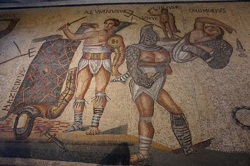 Fight of gladiators / Lluita de gladiadors, mosaic, Galleria Borghese, Roma | by Sebastià Giralt