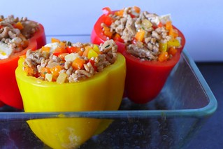 stuffed bell peppers before baking | by Tweety Golez