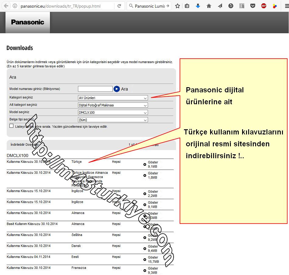 Panasonic dijital ürünleri Türkçe kullanım kılavuzları