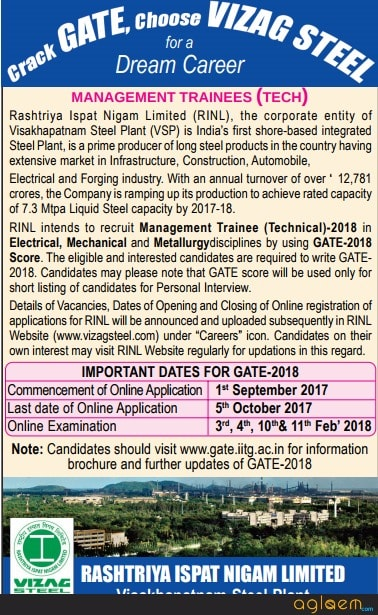 RINL (VIZAG Steel) Recruitment Through GATE 2018 for Management Trainee