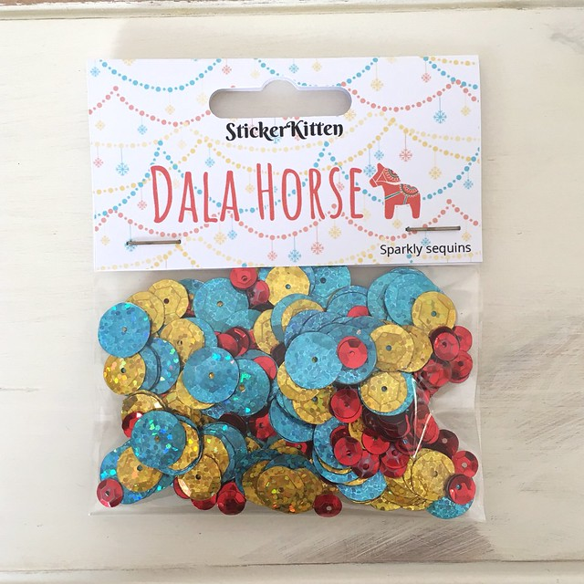 StickerKitten Christmas 2017 range - Dala Horse sparkly sequin pack