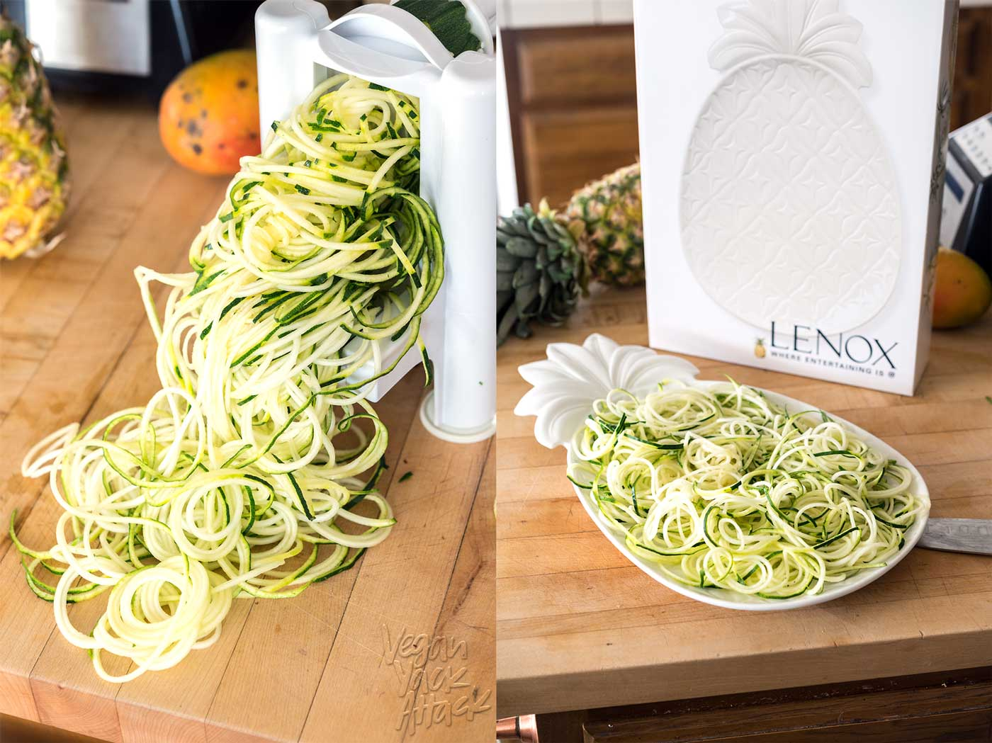 image collage of making zucchini noodles aka Zoodles