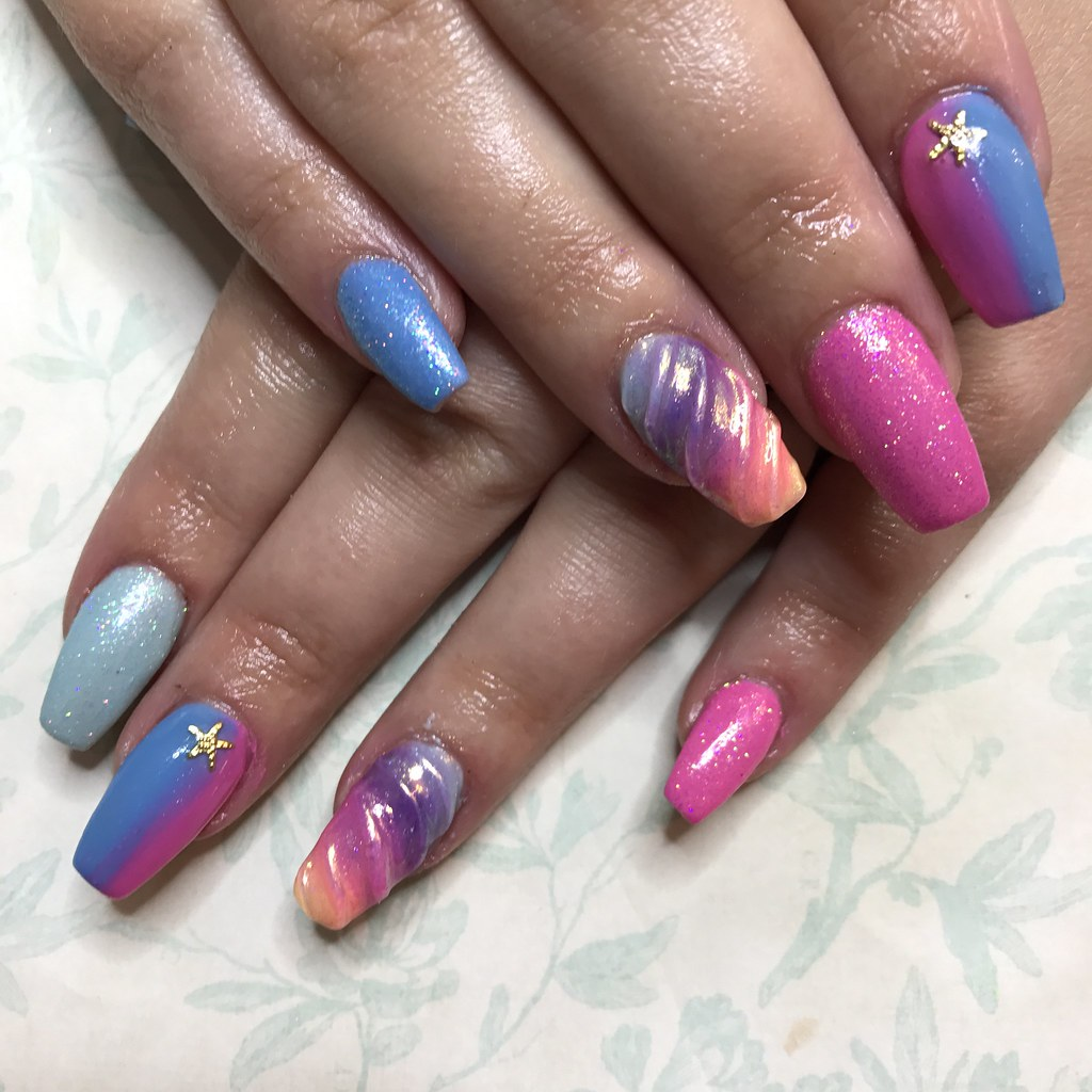 Tapered Acrylics With Blue And Pink Gel Polish Rainbow Unicorn Nails